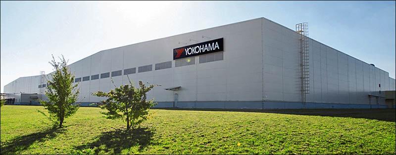 Крупный план завода Yokohama в России в Липецкой области